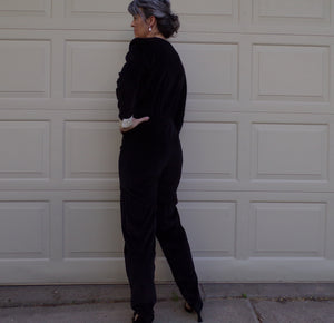 BLACK VELVET JUMPSUIT with white satin lapel and cuffs 1980s 80s S (E2)