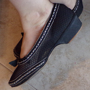 1940's 1950's BLACK MESH SHOES low heels 9 (F5)