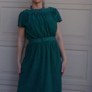 teal green ACCORDION PLEATED DRESS 1970's 1980's S M (B5)