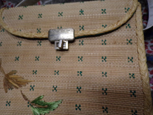 WOVEN STRAW BAG vintage purse summer tiki