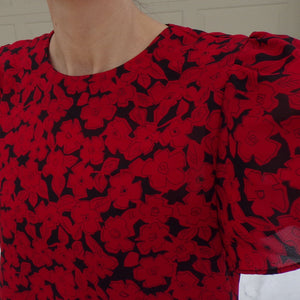 1980s does 1940s RED ROSE DRESS S (B5)