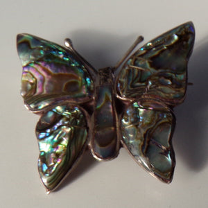 MEXICAN SILVER BUTTERFLY abalone pin brooch mexico