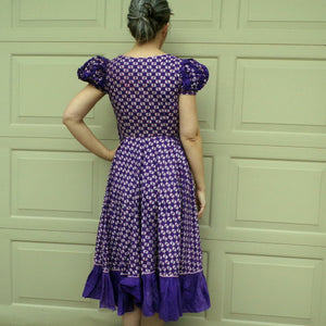 PURPLE PATIO DRESS floral cotton colorado 40's 50's S (E6)