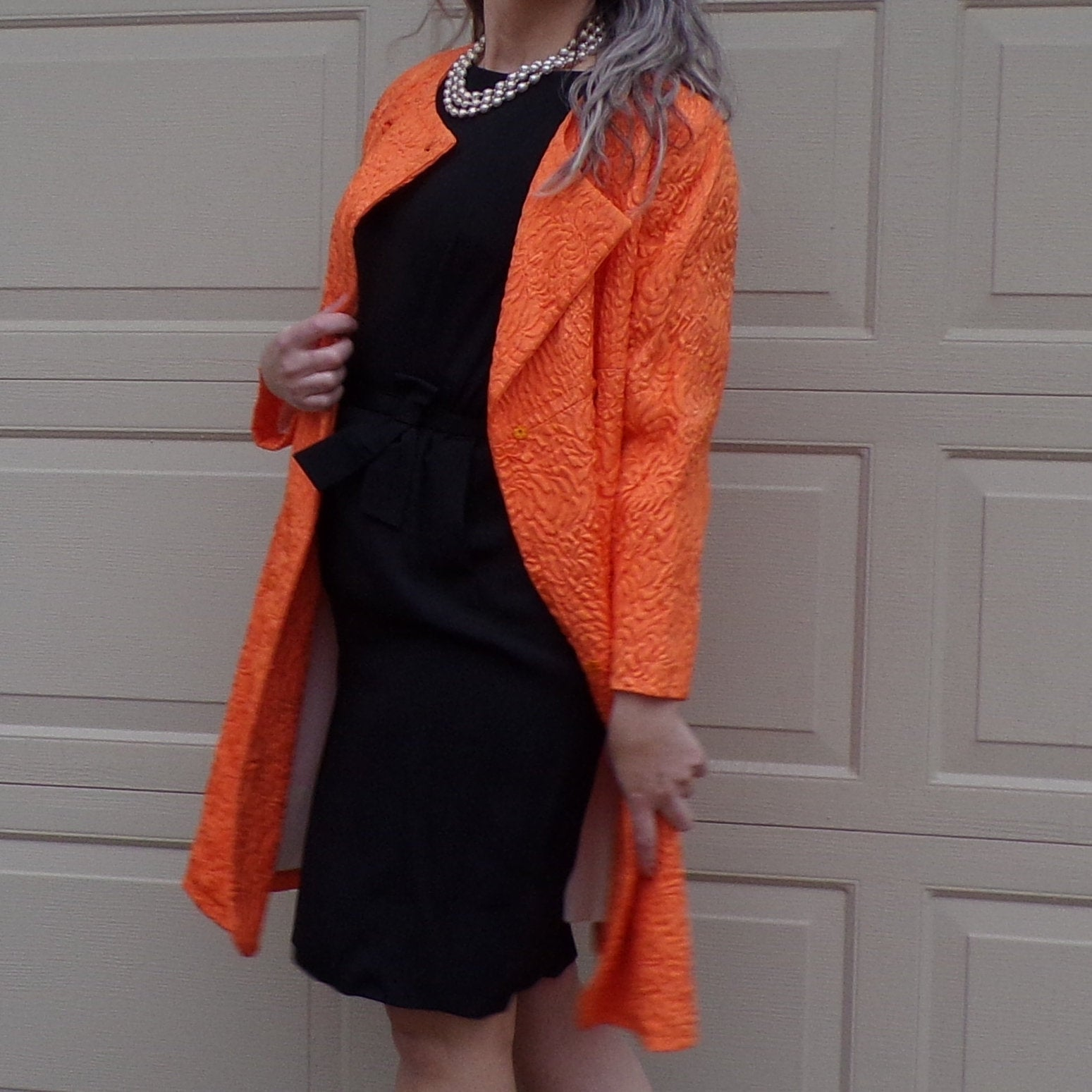 ORANGE embossed sateen SPRING COAT jacket vogue 1950's 1960's S M (K2)
