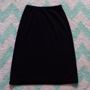 BLACK SWEATER knit SKIRT pull-on minimalist 1980's 80's S (F1)