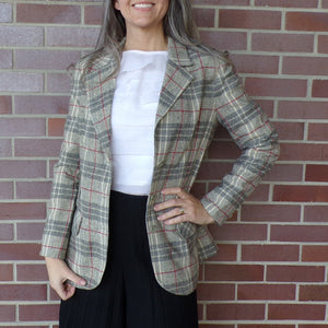 VINTAGE GRAY PLAID wool blazer jacket classic S (G9)