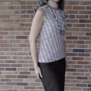 1960's 1970's SLEEVELESS BOUCLE TOP S (G4)