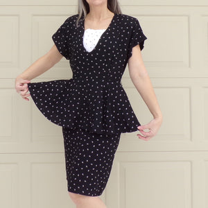 "1980's does 1940's BLACK PEPLUM DRESS S 27"" waist (B2)"