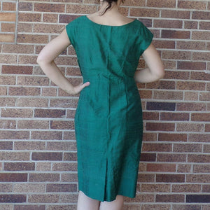 1950's IRIDESCENT GREEN sheath DRESS wiggle 50's M L (G1)