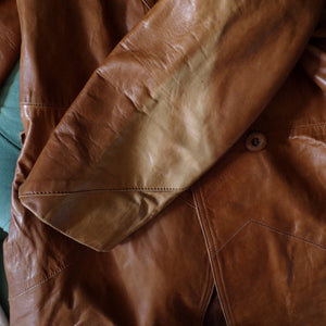 buttery soft VINTAGE LEATHER JACKET coat S (F9)