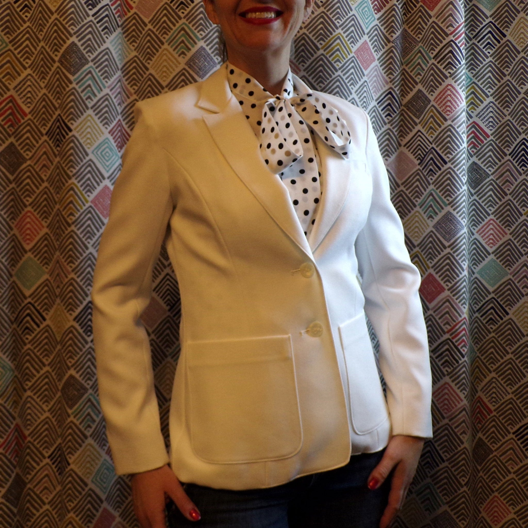 WHITE 1970's CAREER BLAZER 2-button 70's jacket S (G8)