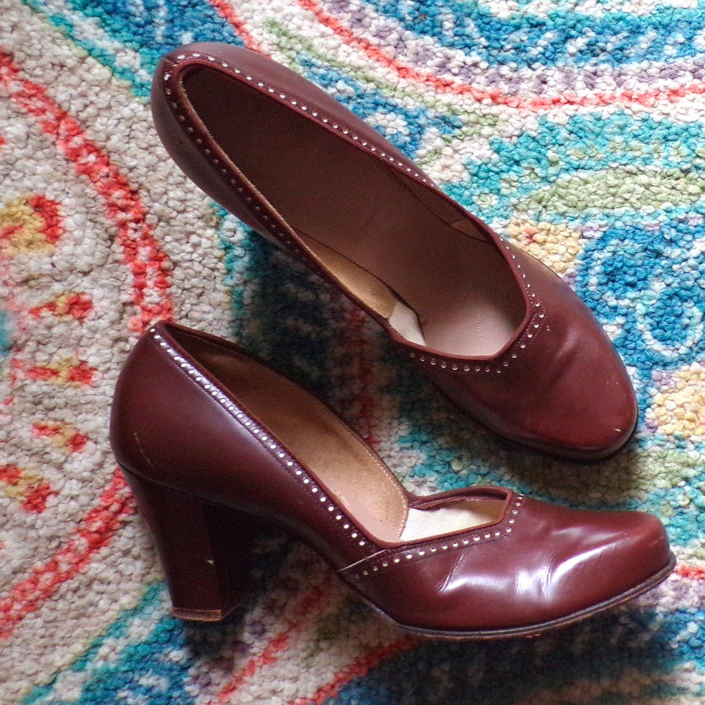 1940's RED CROSS SHOES 40's leather heels 8 N (E2)
