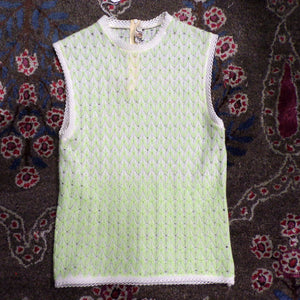 KNIT LACE SHELL sheer sleeveless sweater xs lime white (G7)
