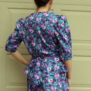 FLORAL 1980's does 1940's PEPLUM DRESS M (F5)