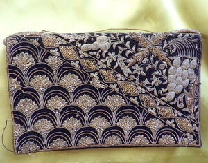 METAL EMBROIDERED CLUTCH vintage purse bag (F2)
