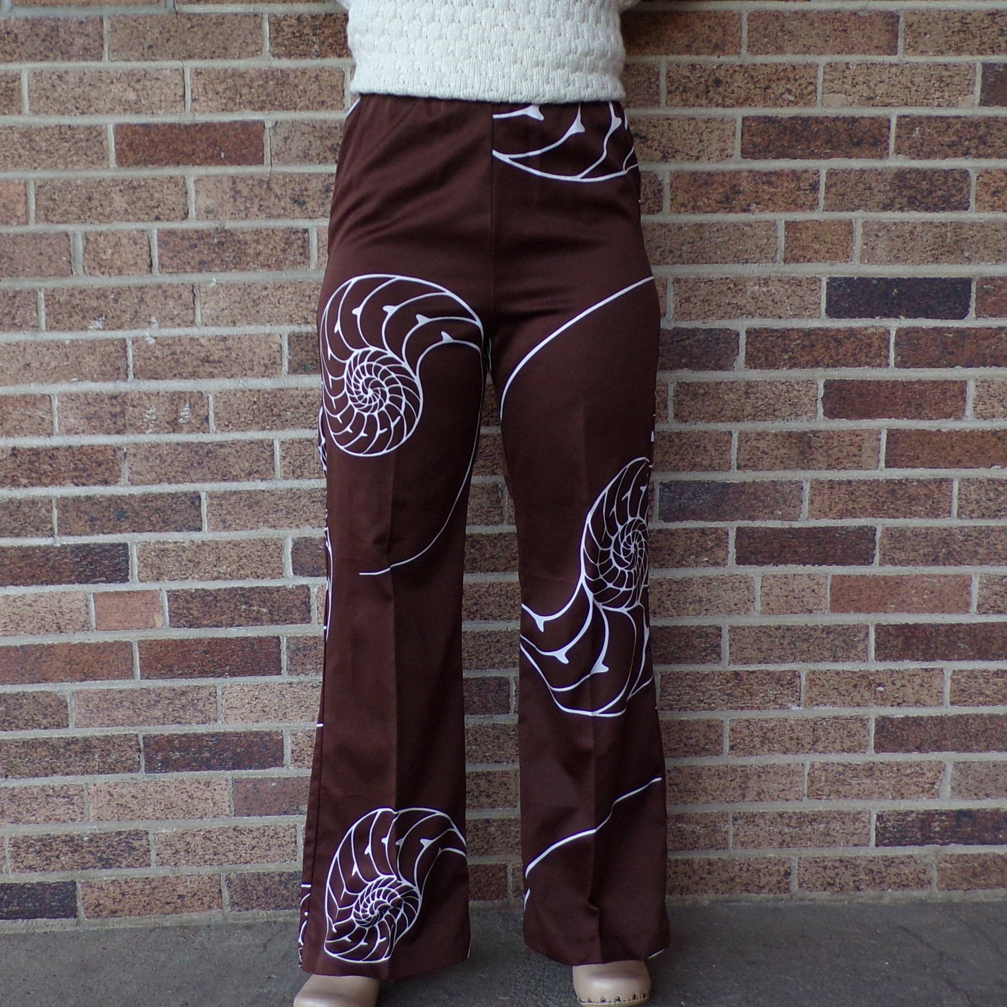 brown SATEEN NAUTILUS PANTS wide leg shell 1970's 70's S (B9)