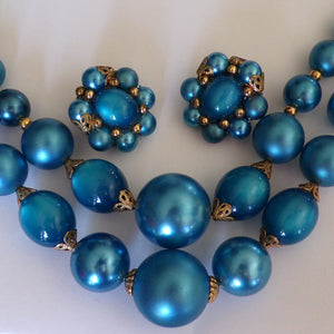 AQUA 1960's BAUBLE NECKLACE 60's clip earring set (C6)