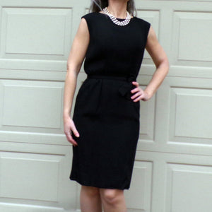 high-quality BLACK 1950's FAILLE wiggle DRESS 50's S (F1)