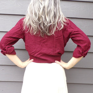 1950's PILGRIM WESTERNER maroon SHIRT snap front mens xs womens S M (G9)