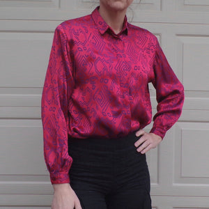 1980's new wave PINK SATIN BLOUSE 80's S M sonic (H4)
