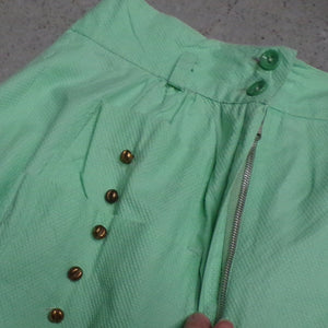 "high waisted VINTAGE GREEN SKIRT A-line pique summer xs 24"" waist (F7)"