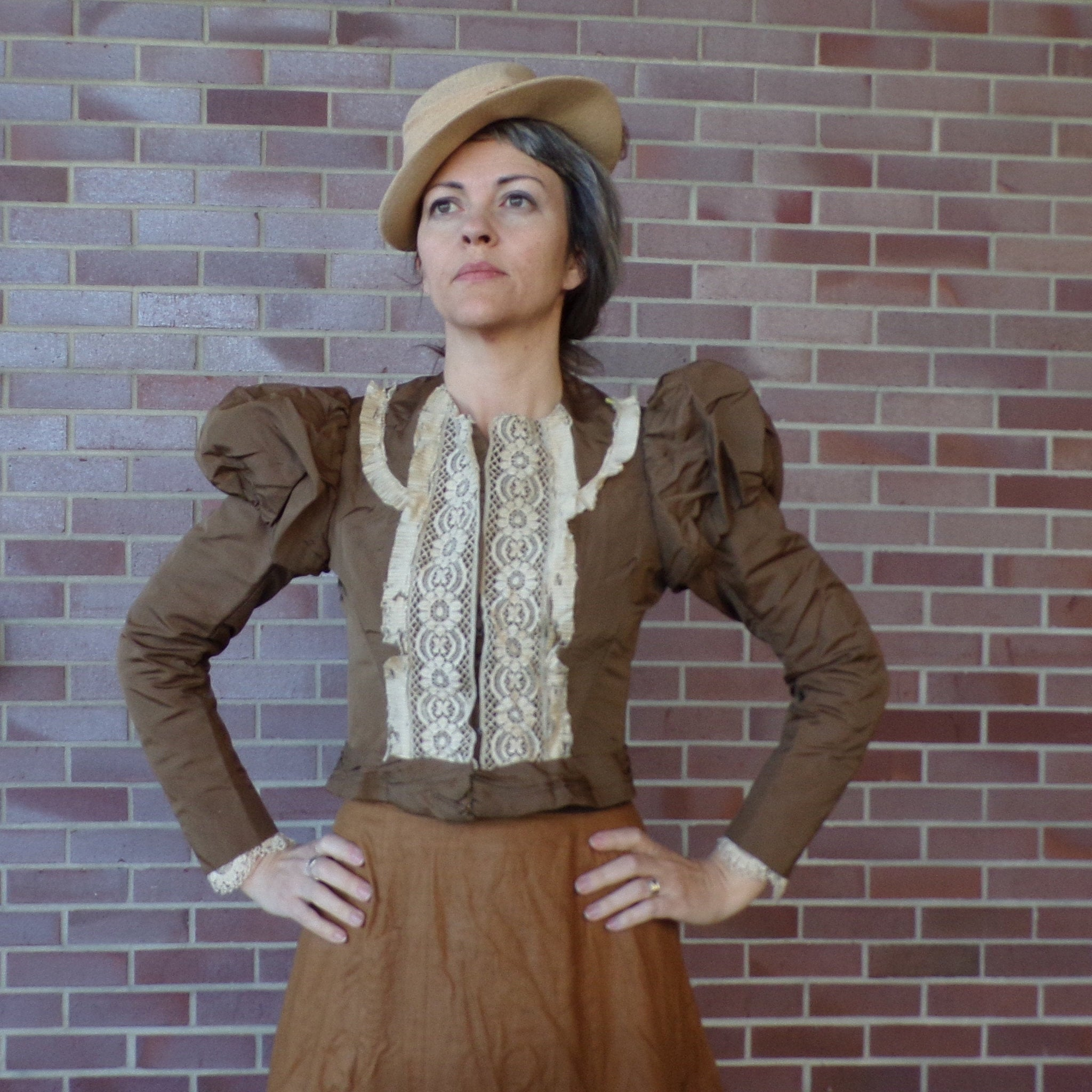 1800's STEAMPUNK SKIRT and JACKET cinnamon cotton xs S (E6)