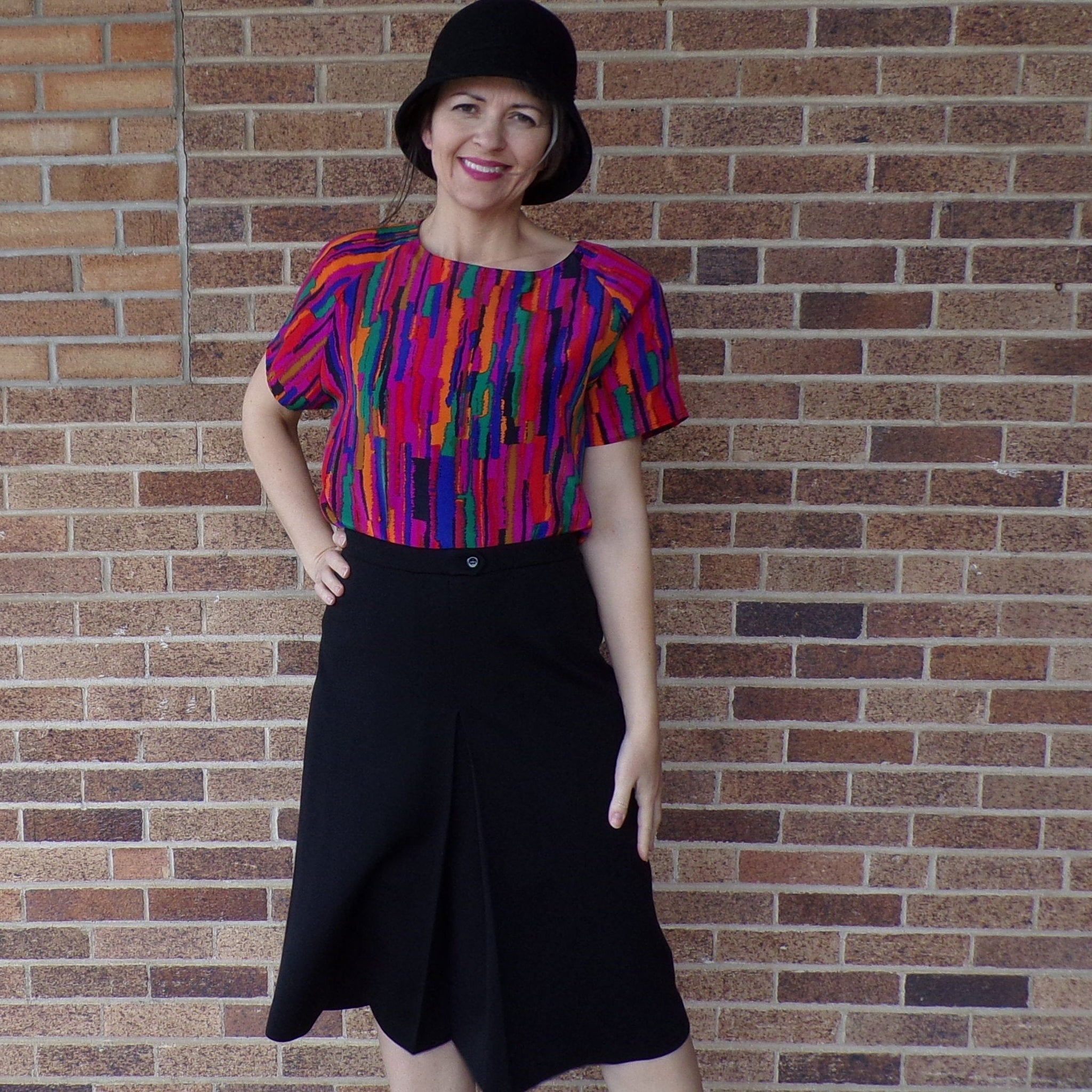 BLACK PONTE KNIT A-line skirt with inverted front pleat M L (F3)
