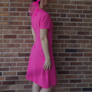 BUBBLEGUM PINK SHIFT dress 1960's 1970's M (D1)