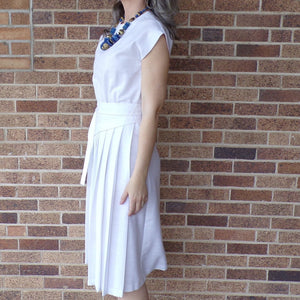 1980's WHITE LINENY summer DRESS 80's S (B9)