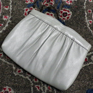 DOVE GRAY LEATHER convertible clutch shoulder bag 1970's 70's (A3)
