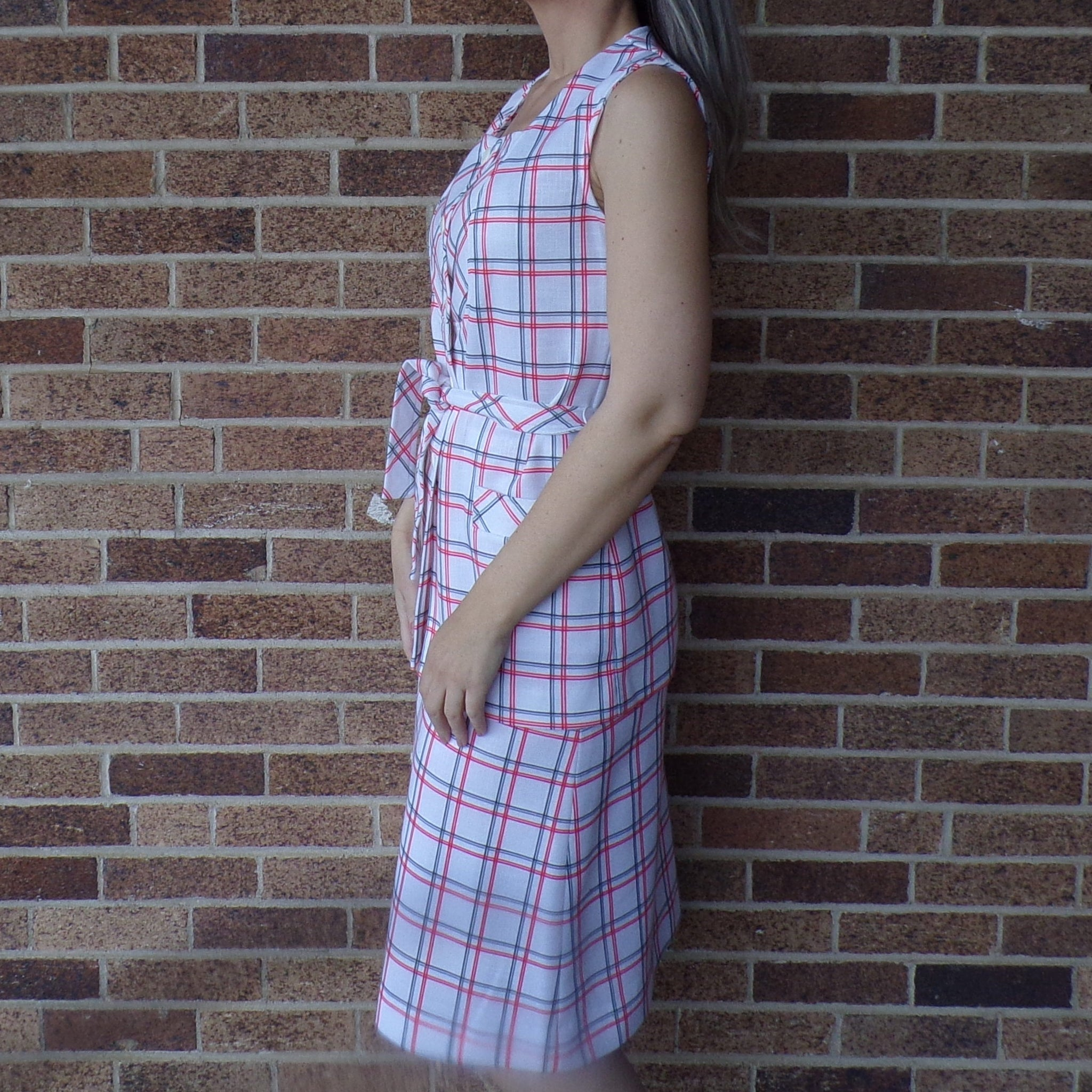 JANTZEN SKIRT and TUNIC set vintage 1960's 1970's plaid separates S (H3)