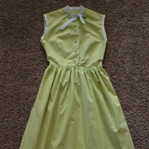CHARTREUSE SLEEVELESS DRESS cotton poplin xs xxs 24 waist (G8)