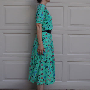 1980's 1990's LIZ CLAIBORNE jersey DRESS M (F2)