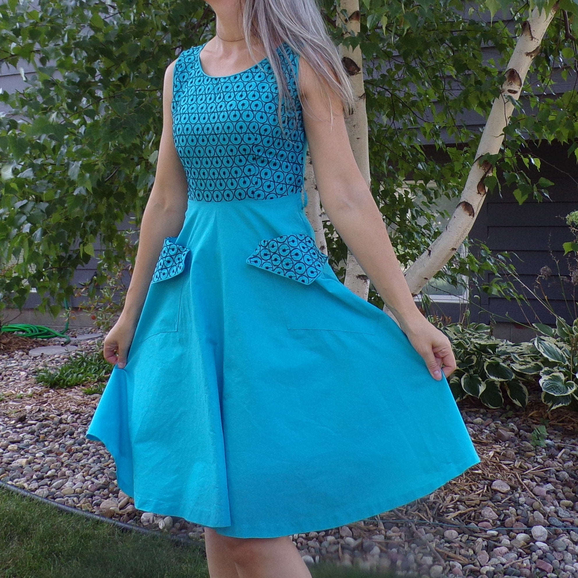 aqua 1950's DRESS WITH POCKETS handmade cutie xs S petite (D5)