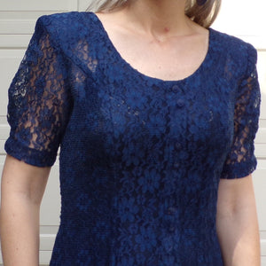 FIT N FLARE DRESS blue lace sheer 1990's 90's S (F8)
