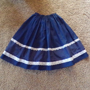 1970's FULL KNEE SKIRT prairie boho 70's xs S (H7)