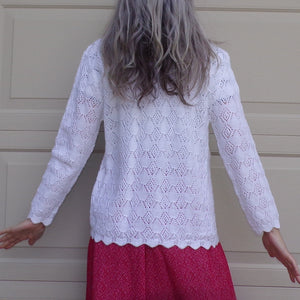 WHITE GRANNY SWEATER light weight pointelle knit cardigan 60's M