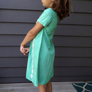 GREEN vintage A-LINE DRESS 1960's 60's shift girls 7 8 (G9)