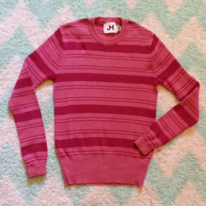 1970's 70's jh SKINNY STRIPED cotton SWEATER S xs (H9)