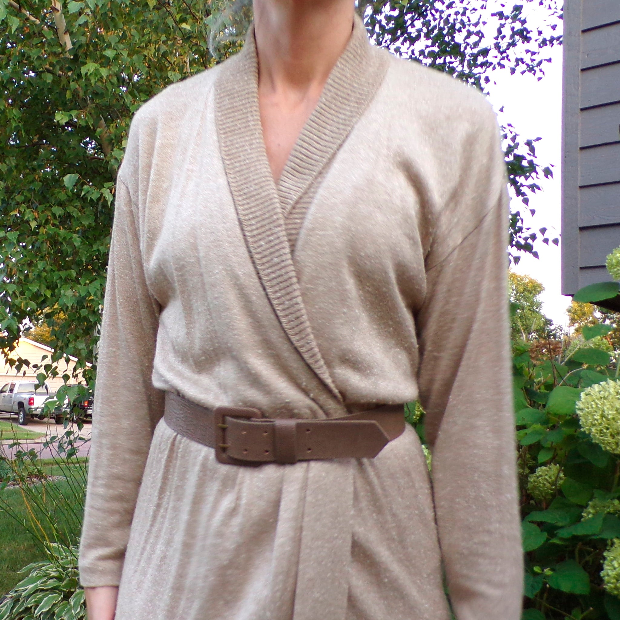 LIZ CLAIBORNE 1980's 1990's nubbly knit dress with belt S M (E10)