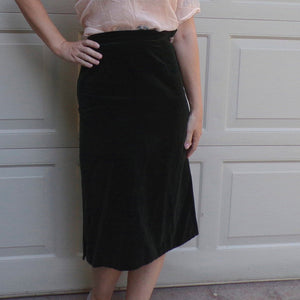 1940's GREEN COTTON VELVET skirt 40's high waist xs S (G7)