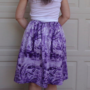 PURPLE novelty PRINT full SKIRT 1950's 50's xs 24.5 waist (D7)