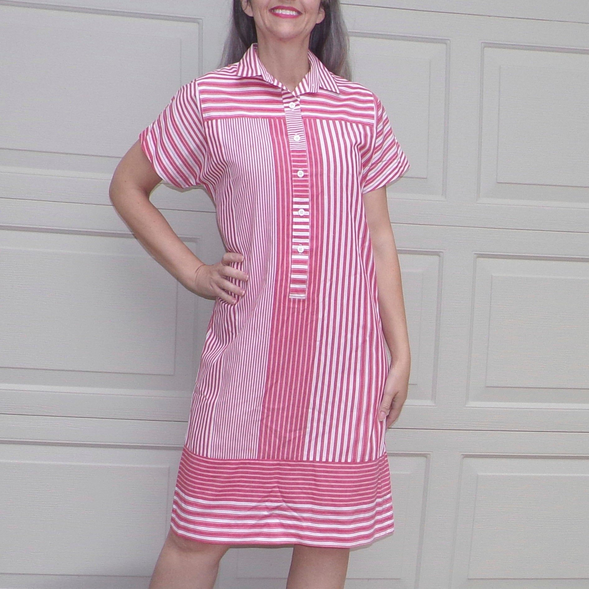 RED CHAMBRAY STRIPE 1980's shift shirt dress S M (A2)
