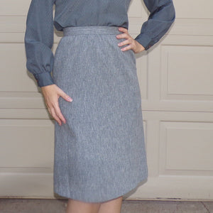 SLUBBED GRAY 70's 80's SKIRT mid length wear to work S (F7)