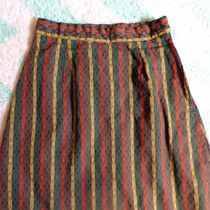 HIGH WAISTED 1960's 60's SKIRT diamanté jacquard xs (B4)