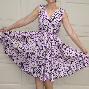 1980's does 1950's FULL CIRCLE SKIRT dress with pockets S (F9)