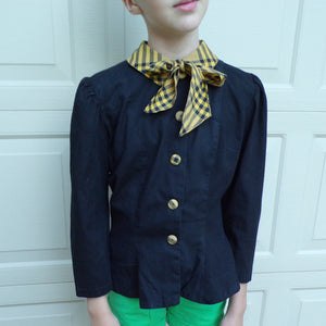ADORABLE BLACK BLOUSE with contrast collar and buttons xs petite 33 bust (A3)