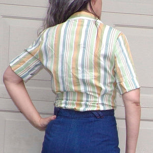vintage dutchmaid TAILORED STRIPED BLOUSE 1950's 1960's S (F9)