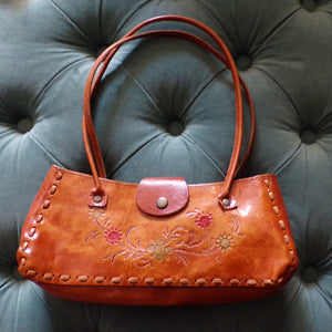 SMALL LEATHER HANDBAG purse tooled 1970's 70's (D8)