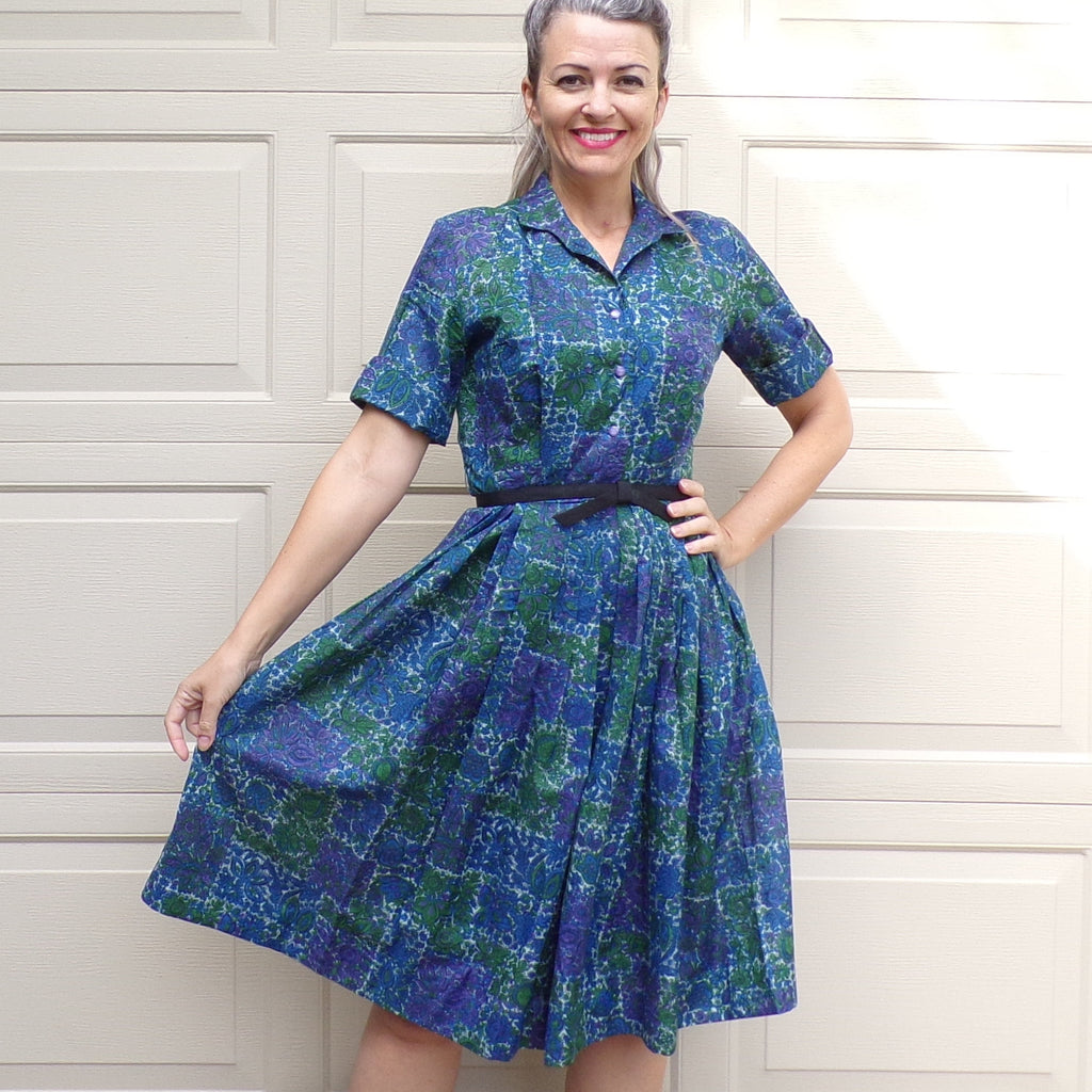 1950's 1960's SHIRTDRESS betty hartford SHIRT DRESS green blue S (E6)